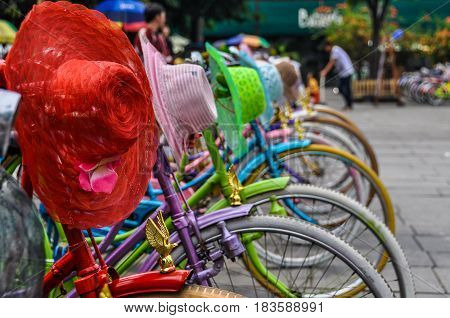 KUALA LUMPUR, MALAYSIA - OCTOBER 26, 2012: Colorful bicycles and hats in Fatahillah Square Jakarta Indonesia
