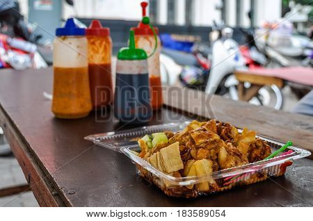 Hawker food in Fatahillah Square Jakarta Indonesia