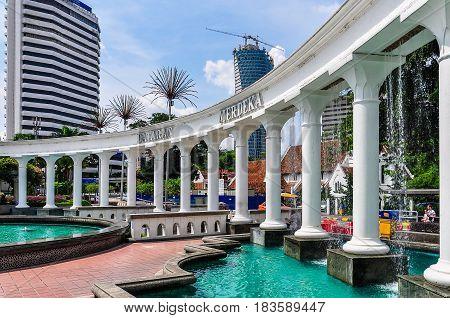 KUALA LUMPUR, MALAYSIA - OCTOBER 26, 2012: Merdaka Square Fountain in the cosmopolitan city of Kuala Lumpur Malaysia