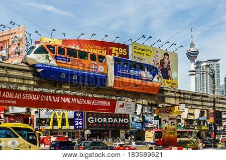 KUALA LUMPUR, MALAYSIA - OCTOBER 26, 2012: Monorail train in the cosmopolitan city of Kuala Lumpur Malaysia