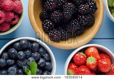 Fruit Varieties In Separate Bowls Overhead View