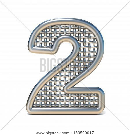 Outlined Metal Wire Mesh Font Number 2 Two 3D