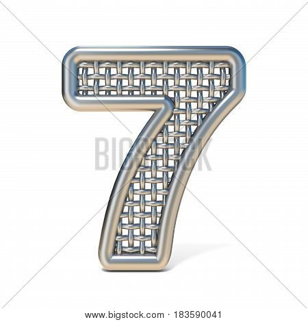 Outlined Metal Wire Mesh Font Number 7 Seven 3D