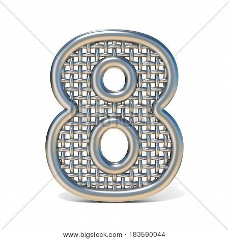 Outlined Metal Wire Mesh Font Number 8 Eight 3D