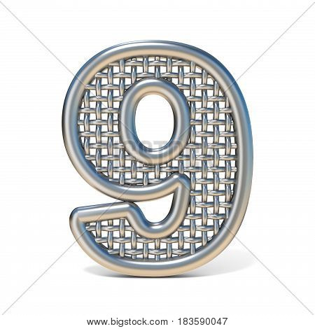 Outlined Metal Wire Mesh Font Number 9 Nine 3D