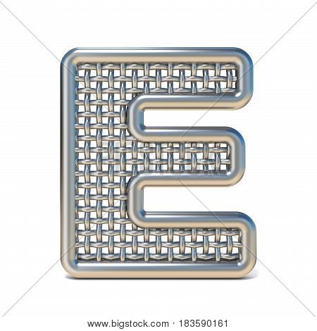 Outlined Metal Wire Mesh Font Letter E 3D