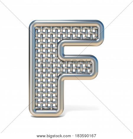 Outlined Metal Wire Mesh Font Letter F 3D