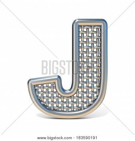 Outlined Metal Wire Mesh Font Letter J 3D