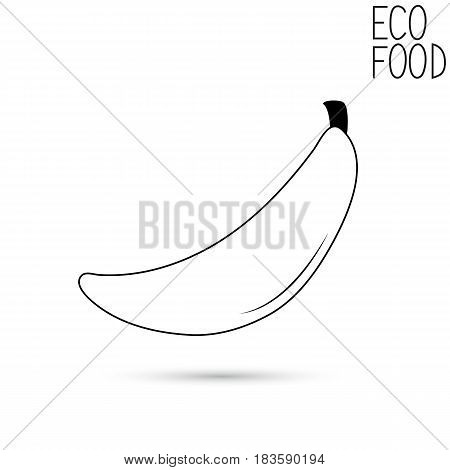 Icon of a banana on a white background