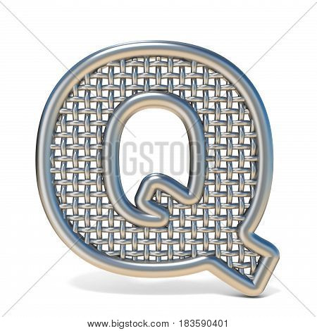 Outlined Metal Wire Mesh Font Letter Q 3D