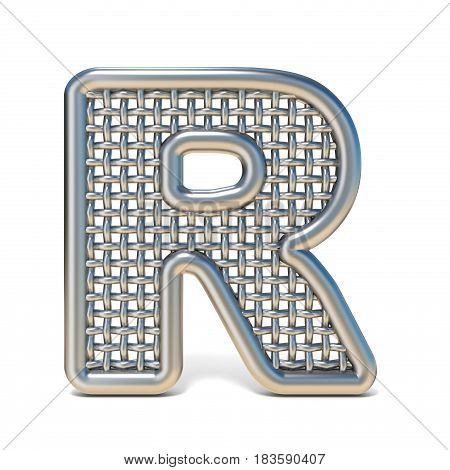 Outlined Metal Wire Mesh Font Letter R 3D