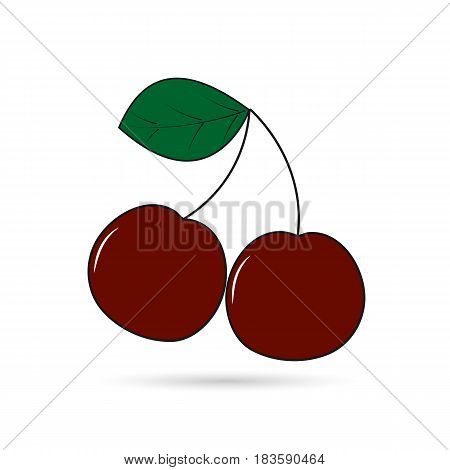 Icon of two cherries on a branch on a white background