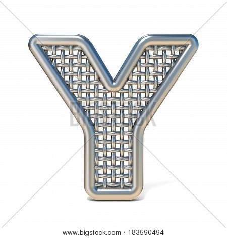 Outlined Metal Wire Mesh Font Letter Y 3D