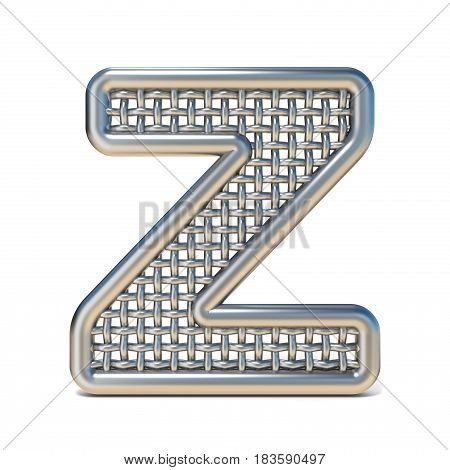 Outlined Metal Wire Mesh Font Letter Z 3D