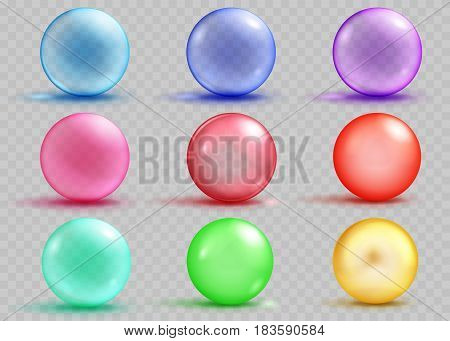 Set of transparent and opaque colored spheres with shadows and glares on transparent background. Transparency only in vector file