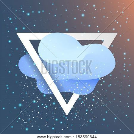 Triangle with flat cloud and snow like star. Background Flat Design (for Logos Flyers Covers Posters Banner) Vector illustration.