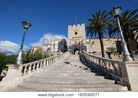 KORCULA, CROATIA - NOVEMBER 09: Main gate of old town of Korcula on Korcula island on Adriatic sea in Croatia on November 09, 2016.