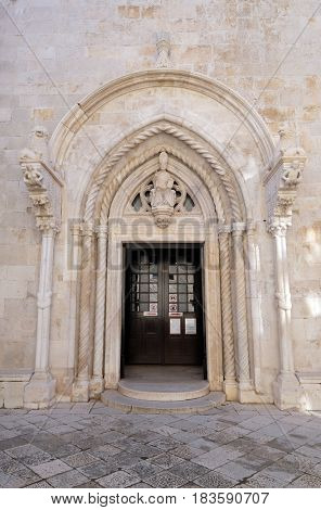 KORCULA, CROATIA - NOVEMBER 09: Portal of the St Mark s Cathedral in the historic city Korcula at the island Korcula in Croatia on November 09, 2016.