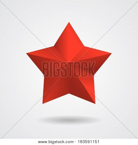 3d red star flat style vector illustration
