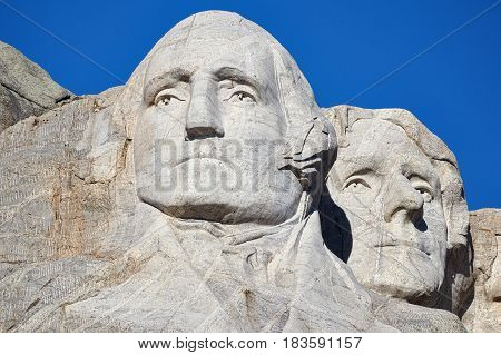 Mount Rushmore National Memorial With George Washington And Thomas Jefferson.
