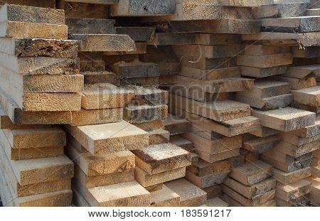 Wood timber construction material. Background and texture