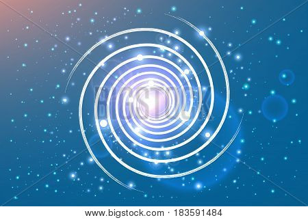 swirl spiral like galaxy with stasrs on background and shine in center