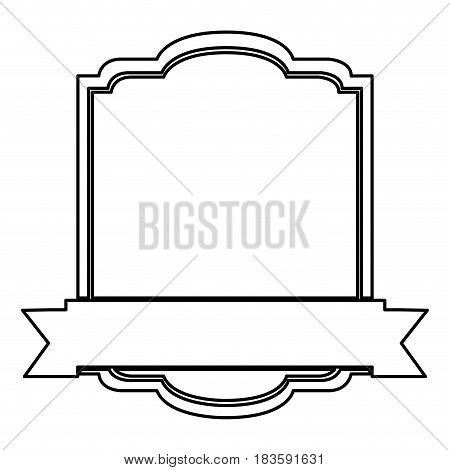 black silhouette with heraldic square and ribbon in lower side vector illustration