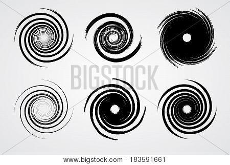 black spiral swirl set circle with brush vector illustration