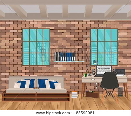 Living room interior in hipster style with brick wall sofa workplace boofshelf and windows. Vector illustration.