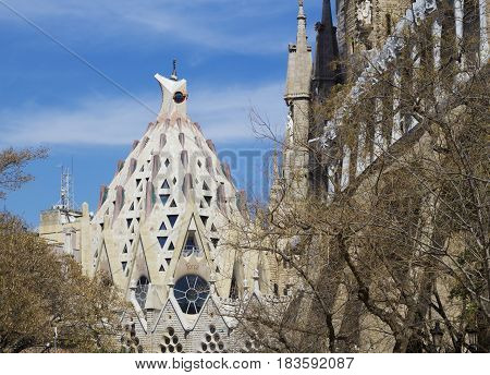 Barcelona Spain - 26 March 2017: View on the chapel of Sagrada Familia. Sagrada Familia is very popular touristic place in Barcelona.