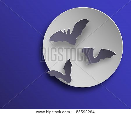 Flock of bats in paper art style on night moon background. Flying bats silhouettes with shadows. Vector illustration.