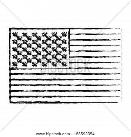 monochrome sketch of flag the united states vector illustration