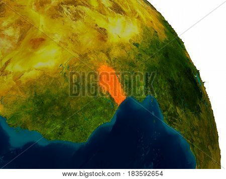 Benin On Model Of Planet Earth