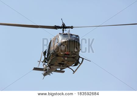 Kagawa, Japan - April 23, 2017: helicopter of Japanese air force during at Zentuji air force base, Japan Self Defense Forces