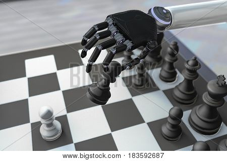A robot plays chess in a apartment (3d rendering)