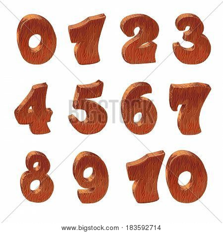Wooden alphabet blocks cartoon style with numbers, vector set with all numbers. Isolated over white.Wooden textured cartoon bold font numbers set.