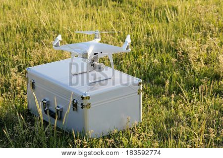 Drone before the flight on metal bag