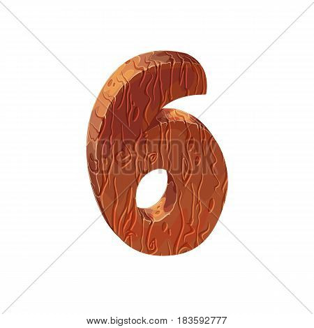 Wooden textured cartoon bold font number 6. Number on white background.
