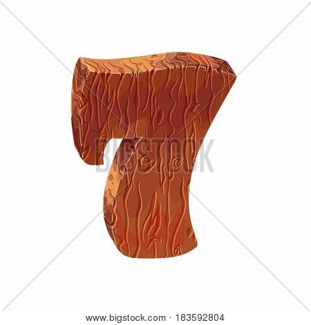 Wooden textured cartoon bold font number 7. Number on white background.