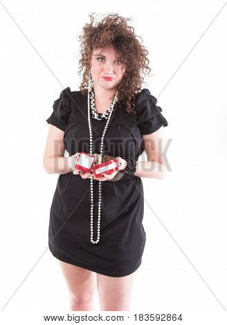 lovely woman with shopping box over white
