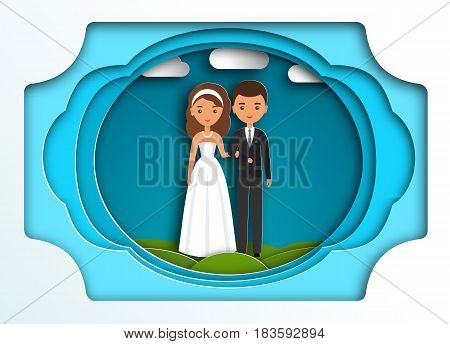 Bride and groom. Vector flat people characters in paper art style. Cartoon couple newlyweds on blue background. Origami design. Icons male female.