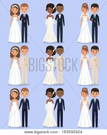 Cartoon wedding characters. Animated bride and groom standing in different poses. Couple newlyweds. Vector flat avatars people. Icons male female.