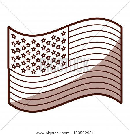 monochrome silhouette of waving flag of the united states with half shadow vector illustration