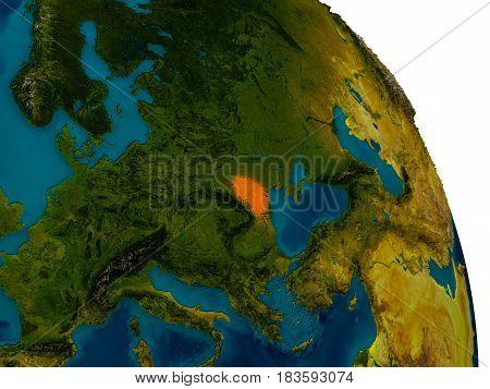 Moldova On Model Of Planet Earth