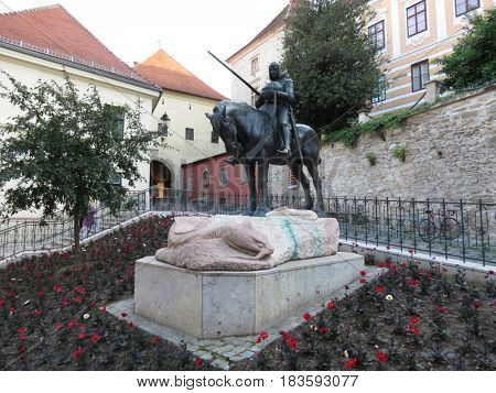 ZAGREB, CROATIA - MAY 17: Statue of Saint George and the Dragon on Radiceva street in Zagreb Croatia on May 17, 2012