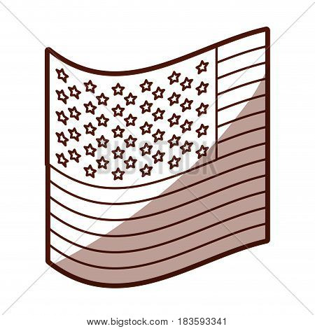 monochrome silhouette of small flag of the united states with half shadow vector illustration