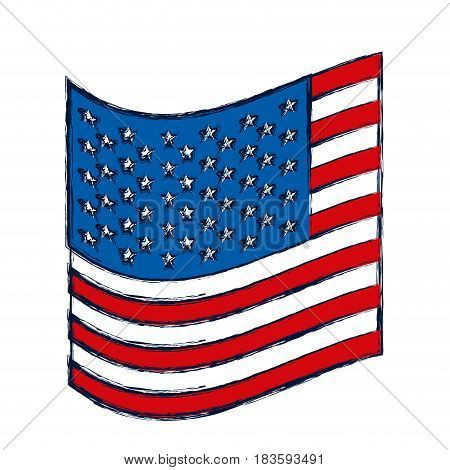 watercolor silhouette of small flag of the united states vector illustration