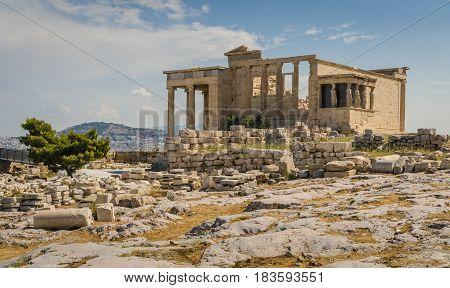 Ancient ruins of Erechtheum Acropolis Athens Greece