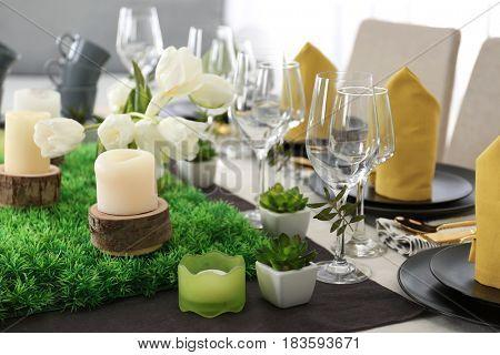 Beautiful festive table setting, closeup