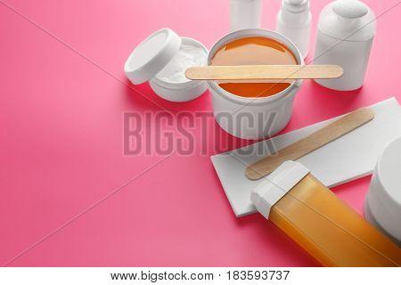 Set for epilation on color background
